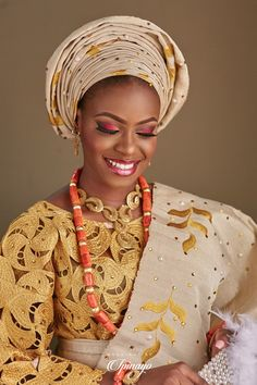 Nigerian Bride in her traditional attire Nigerian Bride, Bridal Portraits, Red Gold, Crochet Necklace, Photo And Video, Instagram, Weddings, Traditional, Fashion