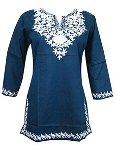 Women's Indian Tunic Top Floral Embroidered Blue Boho Hippie Summer Blouse Small Mogul Interior http://www.amazon.com/dp/B00USZDEWI/ref=cm_sw_r_pi_dp_Jdacvb1REPWWJ