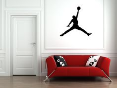 Michael Jordans Air Jump man Vinyl Decal Stickers Stencil Basketball Wall Art Adhesive by VinylCre8iveDesigns on Etsy