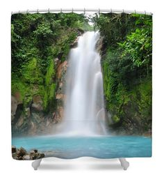 Waterfall Shower Curtain Nature Wildlife Outdoors Home Decor Bathroom Decor  SIZE   71 Wide X 74