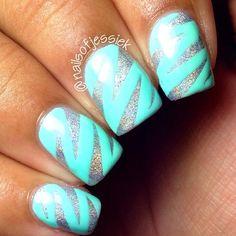 mint and silver zebra ish nail art design (also call zig zag) by nailsbyjessiek