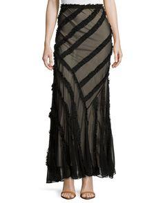 Haute Hippie frayed black skirt