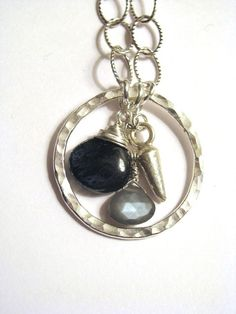 Royal Moss Kyanite and Gray Moonstone Sterling Silver by saltyduck, $108.00