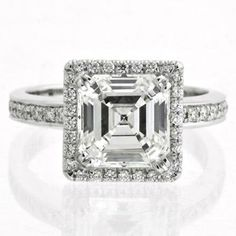 Harry Kotlar #Paltinum Asscher Cut #Diamond #Engagement Ring