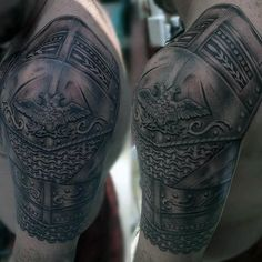 Top 90 Best Armor Tattoo Designs For Men - Walking Fortress Armor Sleeve Tattoo, Armour Tattoo, Shoulder Armor Tattoo, Body Armor Tattoo, Body Art Tattoos, Sleeve Tattoos, 3d Tattoos, Tatoos, Tattoo Flash