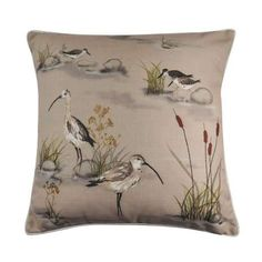 Made from quality polyester materials, this filled square cushion features painterly wading birds with a printed stripe reverse. Featuring a secure zip fastening for ease of inserting filling, this cushion is machine washable for convenient cleaning. Soft Furnishings, Cushions, Furnishings, Dunelm, Color Grouping, Throw Pillows, Washable, Edge Cushions, Small