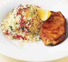 Paprika pork chops with roasted pepper couscous recipe - Recipes - BBC Good Food