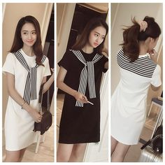 Vogue Women Black&White Short Sleeve Striped Tie Casual Long T Shirt Mini Dress