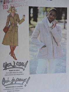 Coat Jacket Tie Belt Misses' Vintage Simplicity 8745 Pattern Sz. Cool Patterns, Vintage Patterns, Stitch Patterns, Sewing Patterns, Fashion Patterns, Costume Patterns, Belt Tying, Learn To Sew, Vintage Fashion