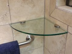 Custom glass shelves are an easy and inexpensive solution to shower storage. We will install matching shelves at the same time as your custom shower door. Glass Corner Shower, Shower Corner Shelf, Shower Shelves, Glass Bathroom, Glass Shower Doors, Floating Shelves Bathroom, Small Bathroom Storage, Glass Shelves, Shelving Design