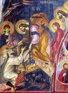 Christ raising the dead From Vatopaidi Monastery, Mount Athos