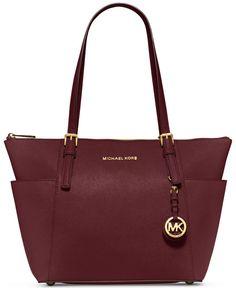 MICHAEL Michael Kors Jet Set East West Top Zip Tote - MICHAEL Michael Kors - Handbags & Accessories - Macy's in Maroon !