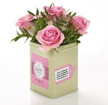 """Wish them the happiest birthday with our pretty vintage caddy, filled with dusty pink roses and personalised with your special birthday greeting to leave a lasting keepsake. """"Happy Birthday"""" will be printed on the label as well as your personal message"""""""