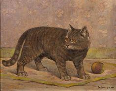 Edouard EVENO (1884-1980) « Le chat » Huile sur panneau signée
