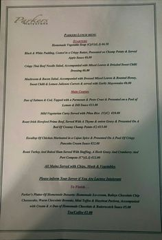 Parkers Restaurant, Holy Cross - About 15 minutes drive from the Rock of Cashel Thai Beef Noodle Salad, Homemade Vegetable Soups, Bacon Salad, Bistros, Beef And Noodles, Sweet Chilli, Holy Cross, The Rock, Roast
