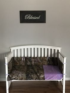 Items similar to Realtree Camo Fabric and Lilac lavender light purple minky 3 pc Crib Bedding Set with and FREE Monograms bumpers, blanket, sheet on Etsy