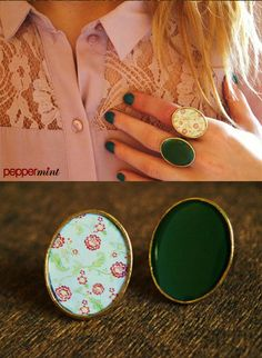 Oversized Bronze Rings Green & Cream with red flowers https://www.facebook.com/peppermint.jewels
