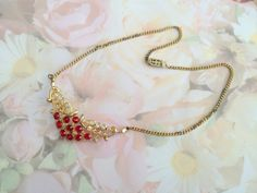 Crystal Necklace, Rhinestone, Red and White, Goldtone Choker, Vintage Jewelry, 16in Chain, Vintage Collectible, Gift Idea - pinned by pin4etsy.com