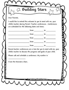 Free parent letter to get your parent teacher conferences all set up for spring