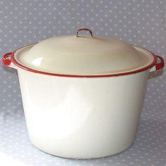Vintage Enamel Pot White with Red Trim $12.00 USD