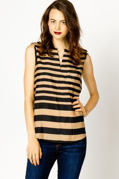 Mocha Stripe Sleeveless Popover