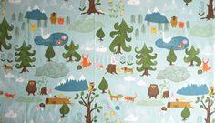 Fabric pale blue forest and Animals fabric Cotton Fabric Kids Fabric Scandinavian Design Scandinavian Textile