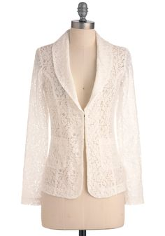 Lace + Blazer = Love  Business is Blooming Jacket - Mid-length, White, Lace, Work, Long Sleeve, Floral, Pockets, 1