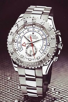 My all time favorite watch, the Rolex Yacht Master.  White face on platinum.