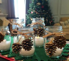 """Mason jars have made a huge comeback lately. I think there is a homemade, back-to-basics feel about mason jars that is making them popular again. Mason jars take me back … Continue reading """"DIY Christmas Mason Jar Candles"""" Christmas Candle Decorations, Christmas Mason Jars, Christmas Candles, Wine Glass Candle Holder, Mason Jar Candles, Mason Jar Diy, Unique Christmas Gifts, Simple Christmas, Christmas Crafts"""