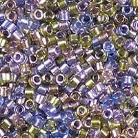Miyuki 11/0 (1.6mm) Delica Sparkle Lined Mardi Gras Mix glass cylinder beads, colour number DB 986. UK seller.