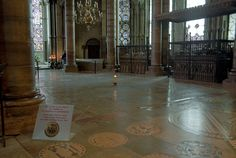 Former place of the Shrine of Thomas Becket in Canterbury Cathedral. The martyrdom of Becket occurred on 29 December 1170. The shrine was destroyed in 1538 under orders of Henry VIII.
