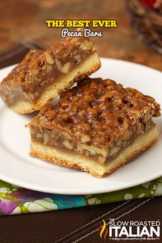 The Best Ever Pecan Bars for them. A fabulous recipe with a caramelized pecan pie set atop a shortbread crust is the absolute perfect nut bar. My family requests more of this dessert than any other every year. Easy Pie Recipes, Sweet Recipes, Cookie Recipes, Dessert Recipes, Bar Recipes, Pecan Recipes, Recipes With Pecans, Dinner Recipes, Finger Foods