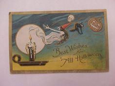 Vintage Halloween Postcard w Witch Black Cat Skull & Jack O Lantern
