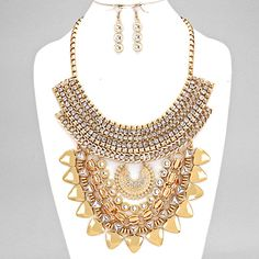 Wome's One Size Tiered Metal Statement Necklace