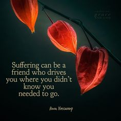 Suffering can be a friend who drives You, where You didn't know You needed to go... ~ ♥