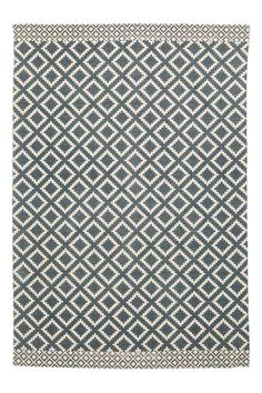 Patterned Cotton Rug - Natural white/dark blue - Home All | H&M CA 1