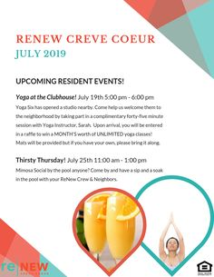 Mark your calendars! We're having Yoga at the Clubhouse on July and Thirsty Thursday on July You won't want to miss these super fun events! Yoga Six, Pet Friendly Apartments, Thirsty Thursday, Fun Events, Flexibility, The Neighbourhood, How To Plan, Pets, Animals And Pets