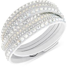 Swarovski Slake Deluxe Crystal Stud Wrap Bracelet ($69) ❤ liked on Polyvore featuring jewelry, bracelets, accessories, white, swarovski jewellery, adjustable bangle, bracelet jewelry, adjustable bracelet und white wrap bracelet