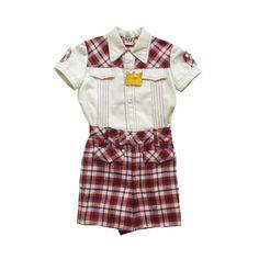 VINTAGE 60/70's / enfant / ensemble / chemise et short / écossais rouge / stock ancien neuf / taille 3 ans