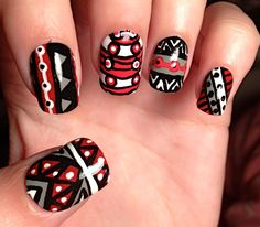 Grey and Red Aztec/Tribal Fake Nails by CompulsiveNails on Etsy