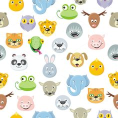 Seamless Pattern Animal Faces by robuart on @creativemarket