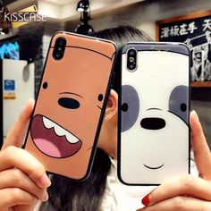 07df2faf83 Case For iPhone 7 7 Plus Tempered Glass Cases For iPhone 6 6S Plus 8 Plus  Three Bare Bears Cover For iPhone X 6 7Plus
