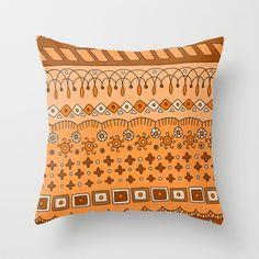 Yzor pattern 008 warm Throw Pillow by azur-yzor - $20.00