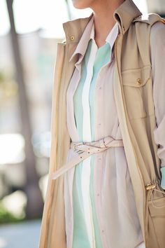 Nicely balanced mix of delicately feminine & utilitarian pieces.