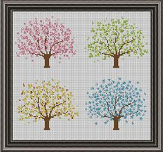 Four Seasons Tree Cross Stitch Pattern PDF Instant Download Spring Summer Autumn Winter by HeritageStitch on Etsy Cross Stitch Tree, Simple Cross Stitch, Cross Stitch Flowers, Cross Stitch Charts, Cross Stitch Patterns, Tapestry Crochet, Stitch Design, Cross Stitching, Cross Stitch Embroidery