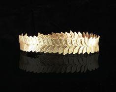 Gold Caesar Leaf Circlet Adjustable Crown Costume Accessory Adult