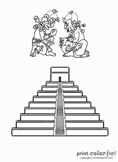 Here is an ancient Mayan-style pyramid, along with representations of a couple of ancient Mayan gods. More coloring pages you might like Temple Maya, Aztec Temple, Pyramid School Project, Indian Chief Tattoo, Maya Tempel, Temple Drawing, Mayan Tattoos, Cute Coloring Pages, Coloring Book