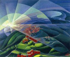 Gerardo Dottori - Aurora Volando, 1933 tempera su tavola, cm. 85x106 Galleria Arte Centro, Milano