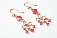 Copper Swirl Earrings with Padparadscha Pink by MarmeliDesigns, $16.00