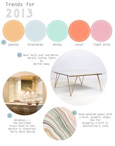 This the color pallette of my bedroom (minus the pink). Hoping to carry the mint and blue/grey into the kitchen.